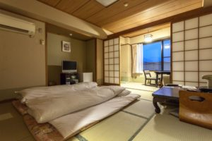 Ryokan. A traditional Japanese guest room