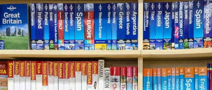 shelf of travel books