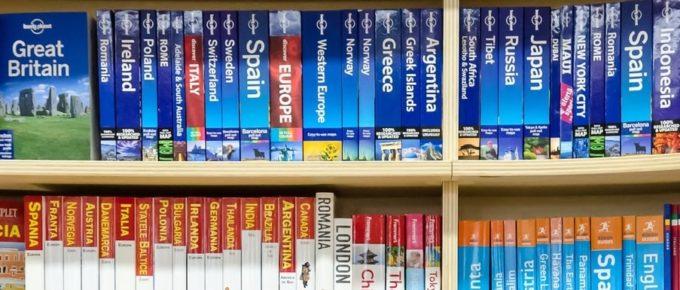 shelf of travel books