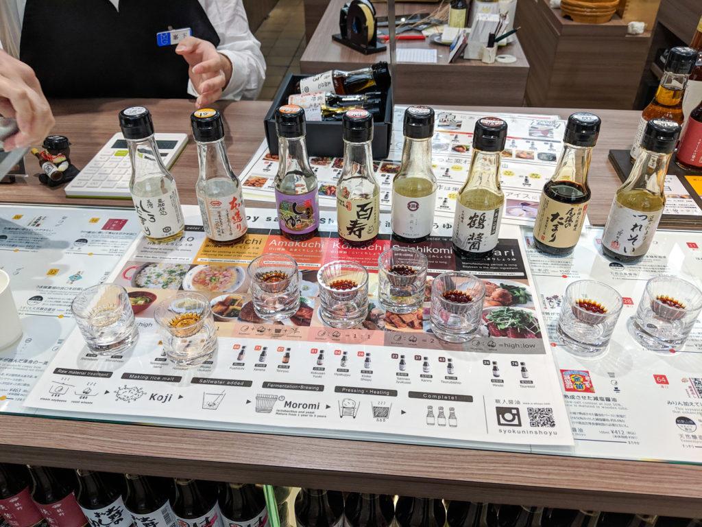 Matsuya Ginza soy sauce tastiing choices